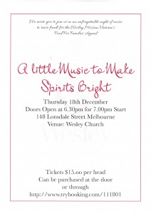'A Little Music to Make Spirits Bright' Music Concert Thursday, 18th December, 7 pm